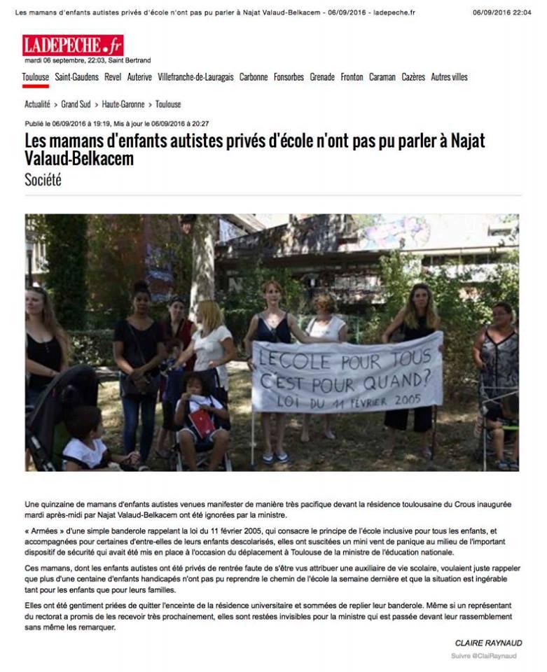 Dépèche du Midi, première version de l'article sur la manifestation des mamans d'autistes à Toulouse