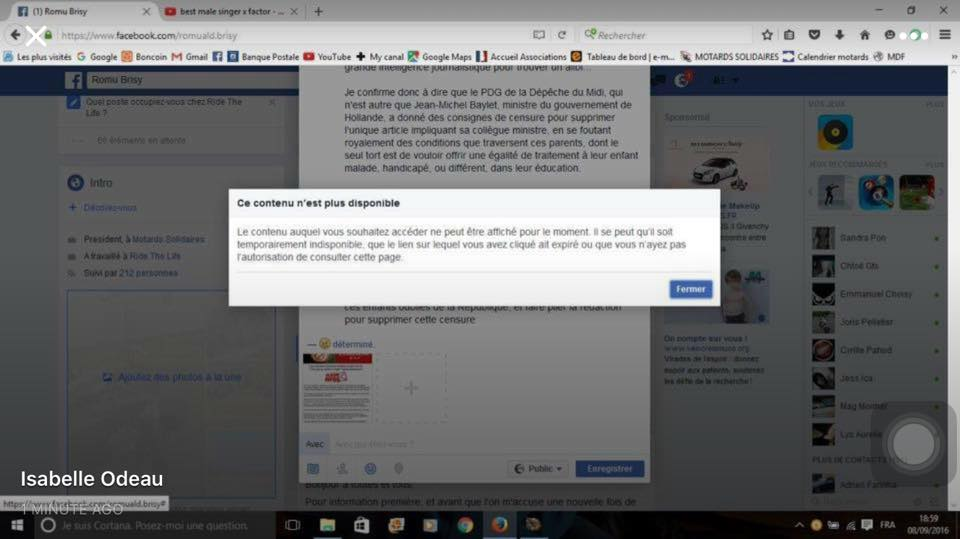 Facebook, contenu non disponible